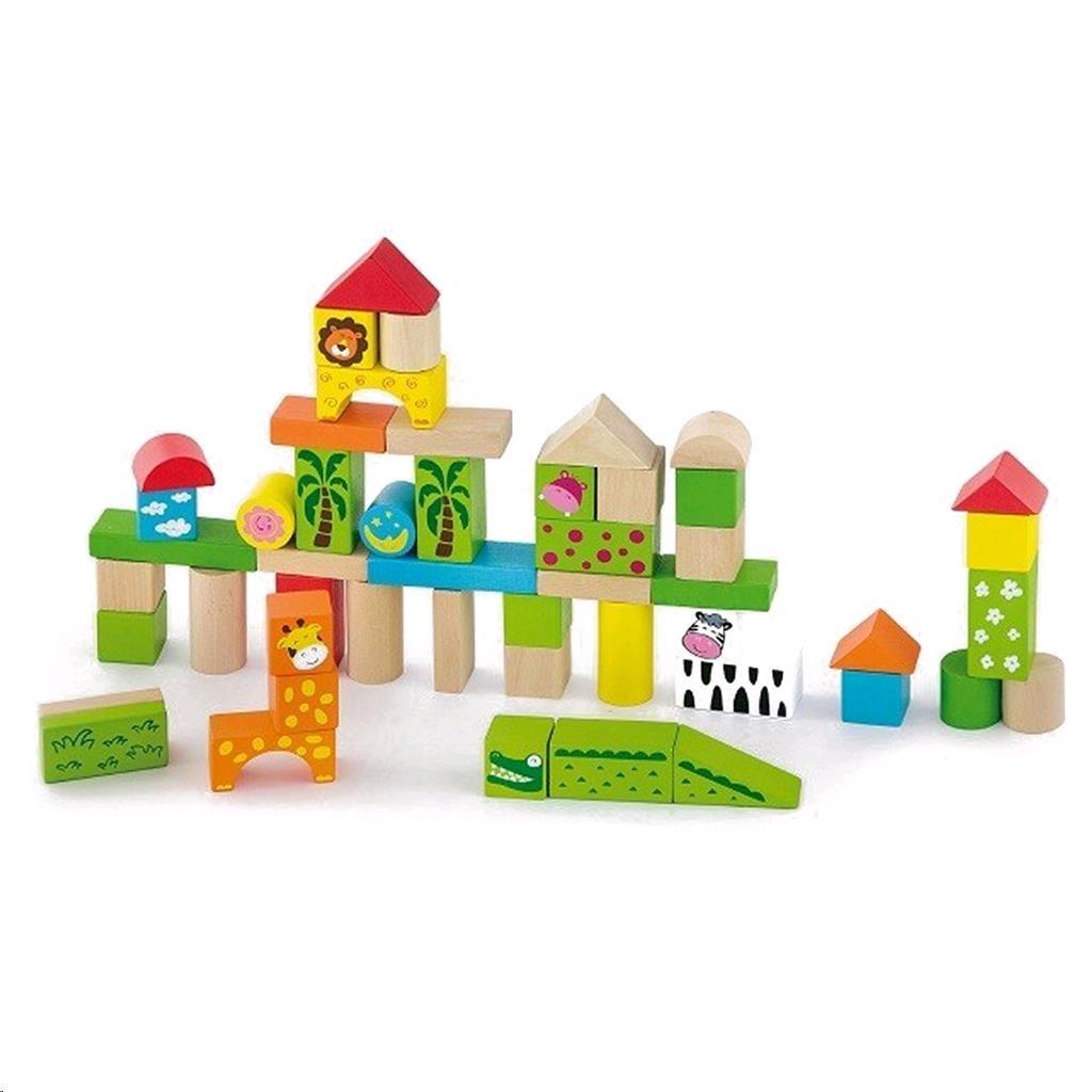 Drevené kocky pre deti Viga ZOO 50 dielikov