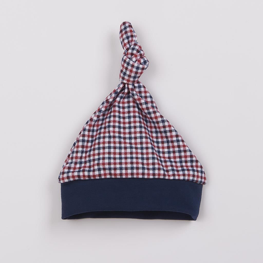 Dojčenská bavlnená čiapočka New Baby Checkered-56 (0-3m)