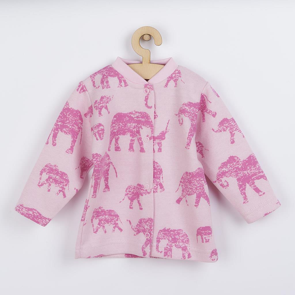 Dojčenský kabátik Baby Service Slony ružový-68 (4-6m)