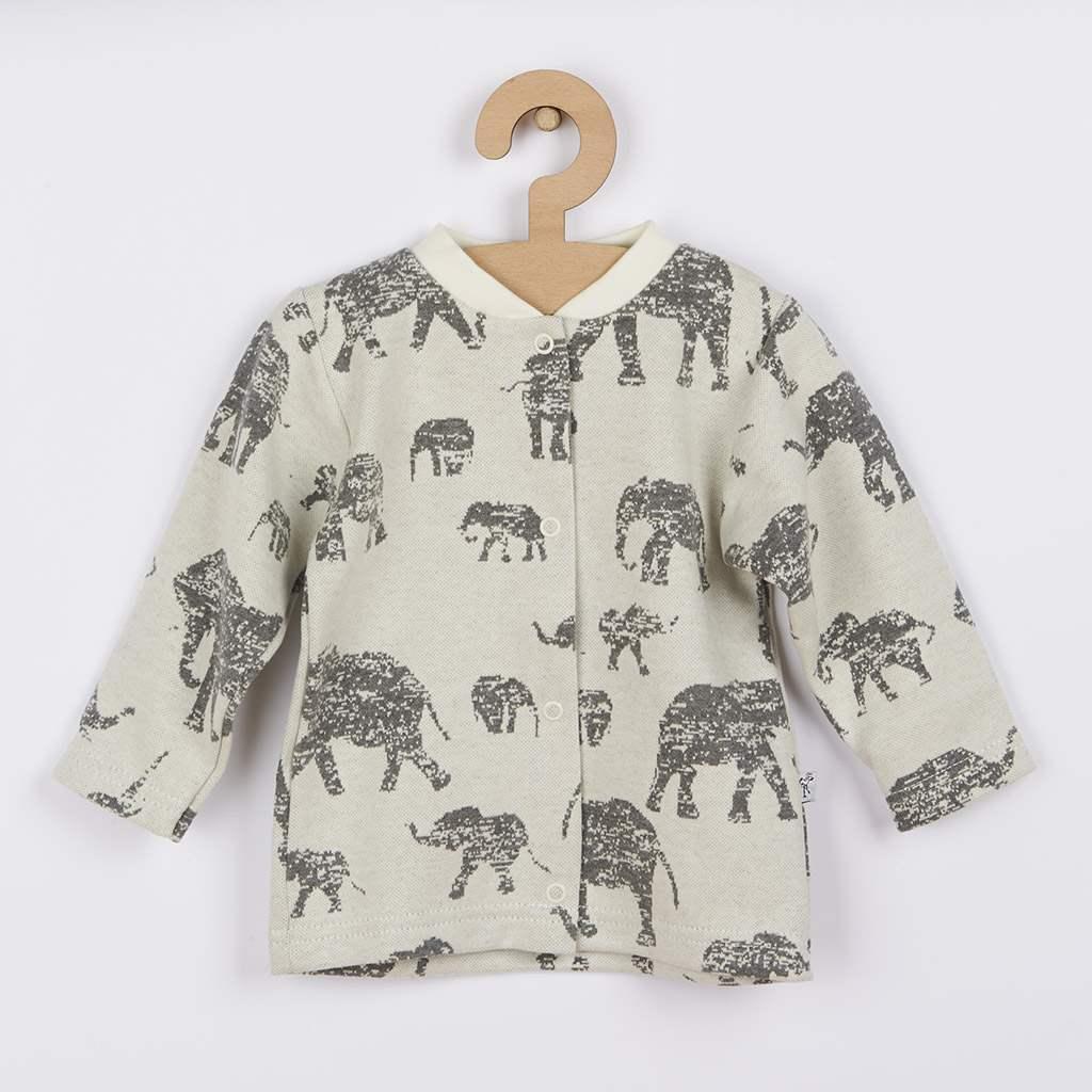 Dojčenský kabátik Baby Service Slony sivý-68 (4-6m)