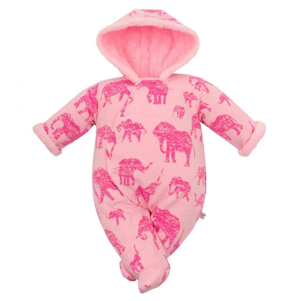 Zimná dojčenská kombinéza s kapucňou Baby Service Slony ružová-68 (4-6m)