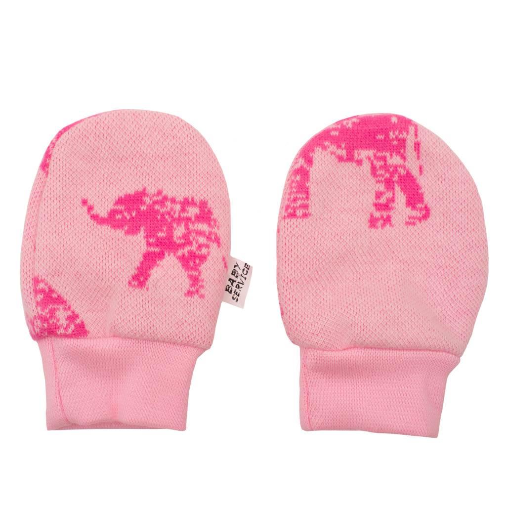 Zimné dojčenské rukavičky Baby Service Slony ružové-Univerzálna
