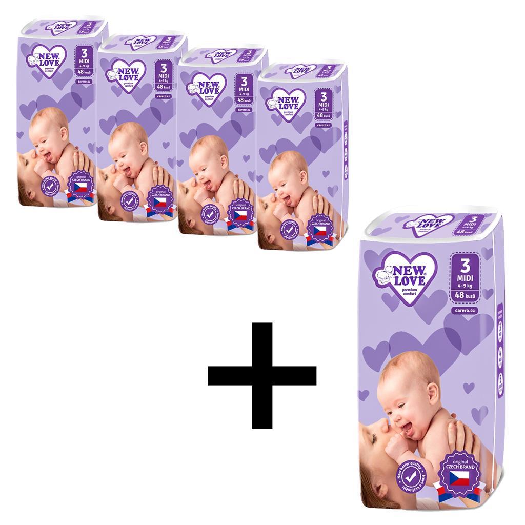 AKCIA 4+1 Detské jednorázové plienky New Love 3 MIDI 4-9 kg 5x48 ks