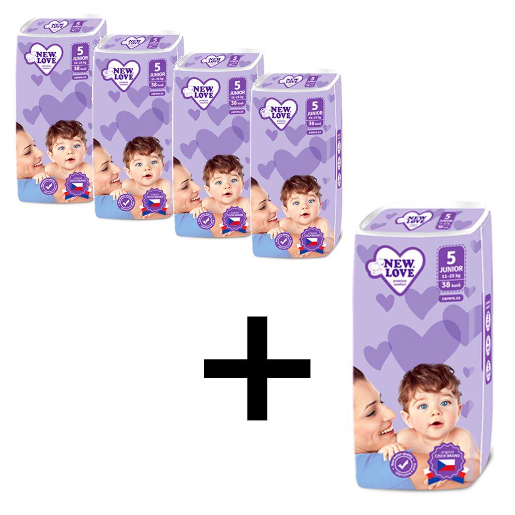 AKCIA 4+1 Detské jednorázové plienky New Love 5 JUNIOR 11-25 kg 5x38 ks