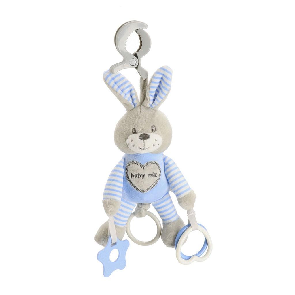 Plyšová hračka s vibráciou Baby Mix králik modrý