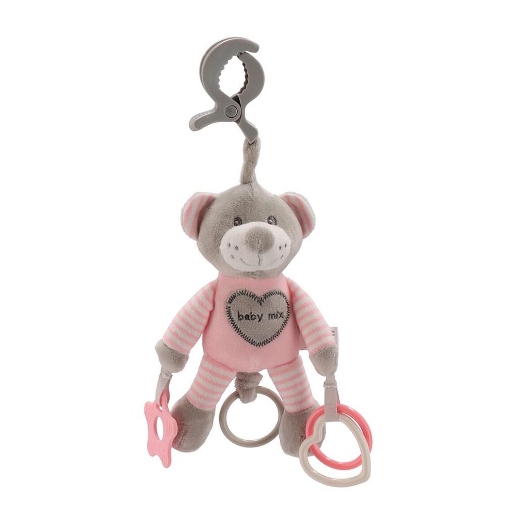 Plyšová hračka s vibráciou Baby Mix medveď rúžový