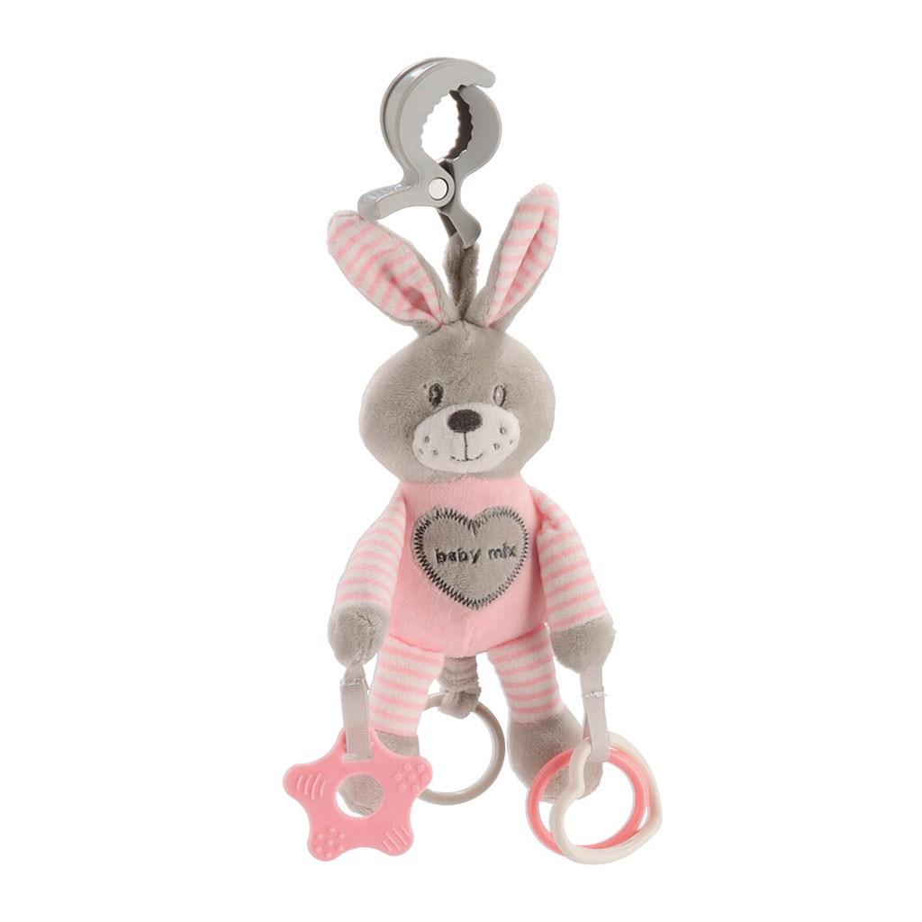 Plyšová hračka s vibráciou Baby Mix králik rúžový