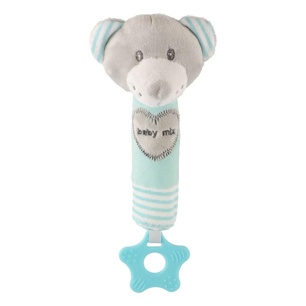 Detská pískacia plyšová hračka s hryzátkom Baby Mix medveď mätový