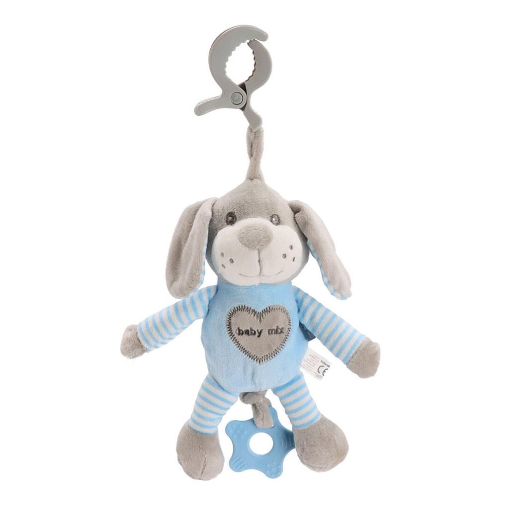 Edukačná hrajúca plyšová hračka s klipom Baby Mix pes modrý