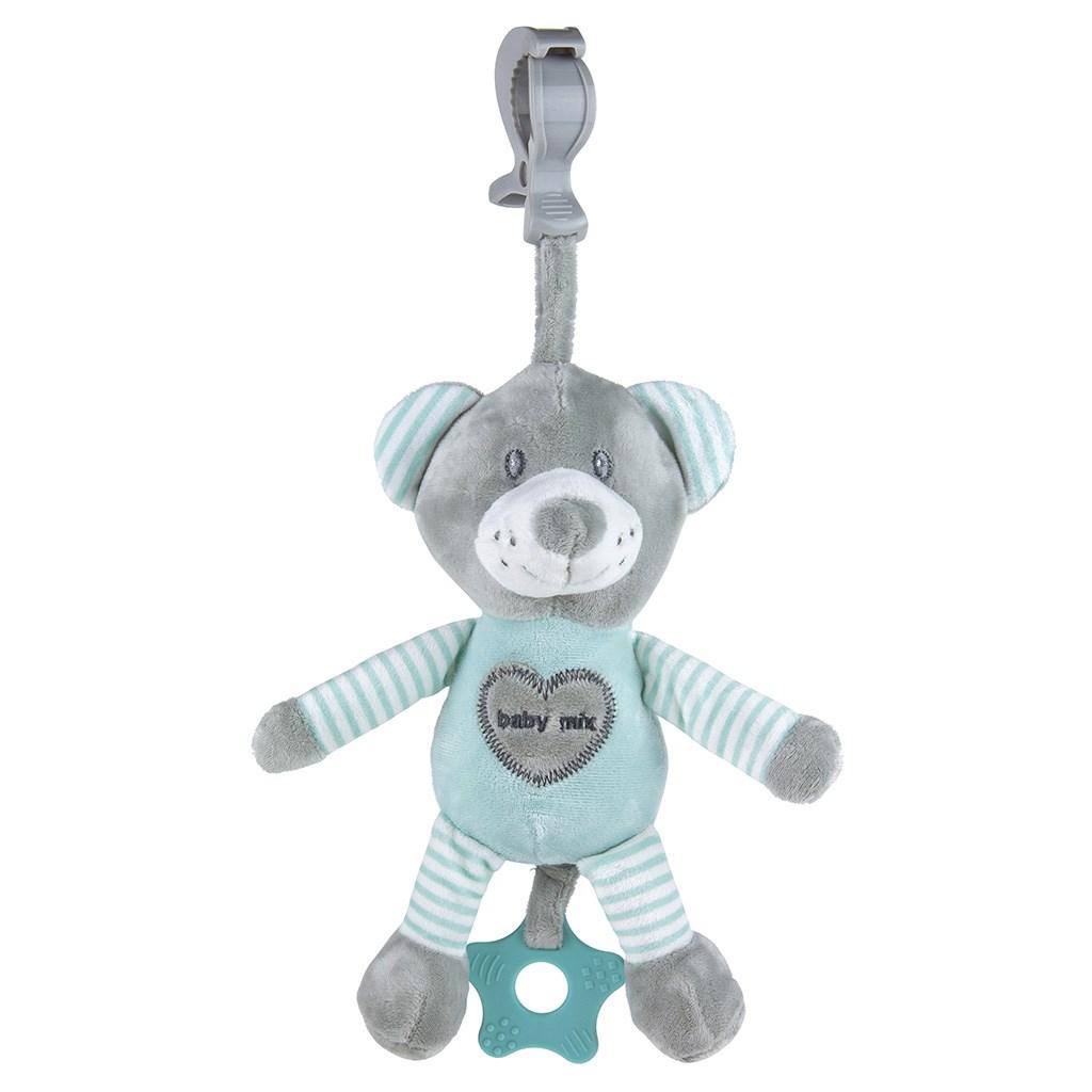 Edukačná hrajúca plyšová hračka s klipom Baby Mix medveď mätový
