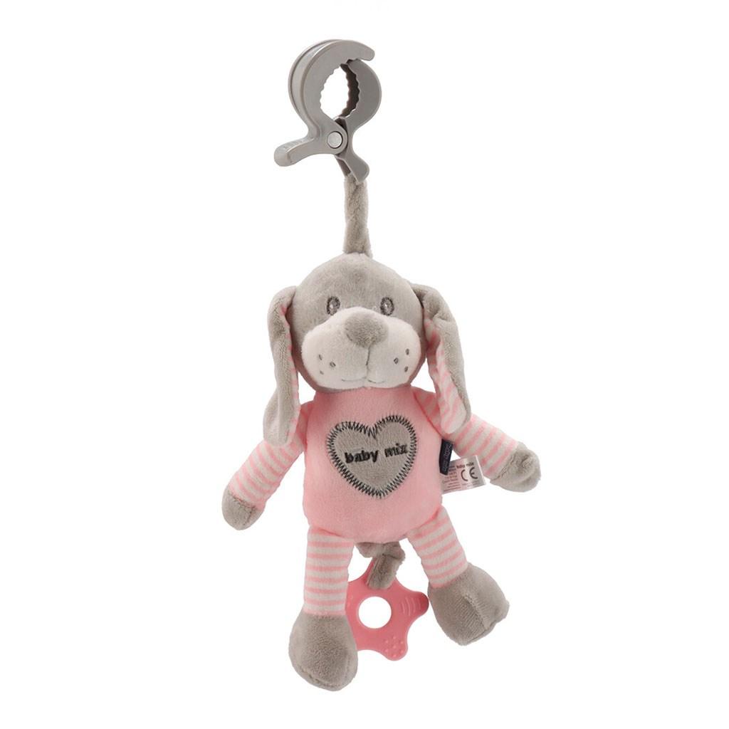 Edukačná hrajúca plyšová hračka s klipom Baby Mix pes rúžový