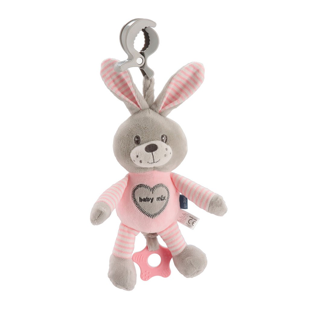 Edukačná hrajúca plyšová hračka s klipom Baby Mix králik rúžový