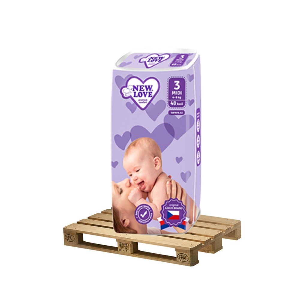 PALETA Detské jednorazové plienky New Love remium comfort 3 MIDI 4-9 kg 175x48 ks