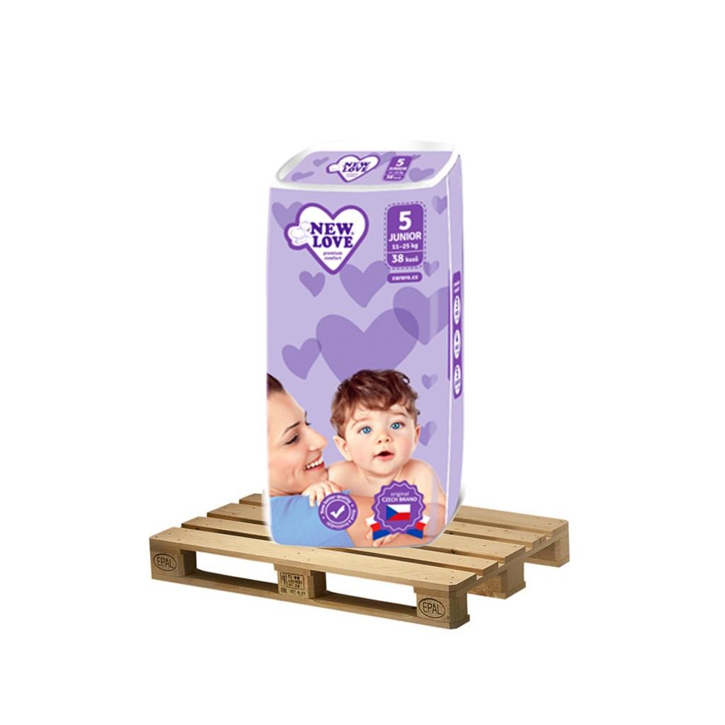 PALETA Detské jednorazové plienky New Love Premium comfort 5 JUNIOR 11-25 kg 175x38 ks