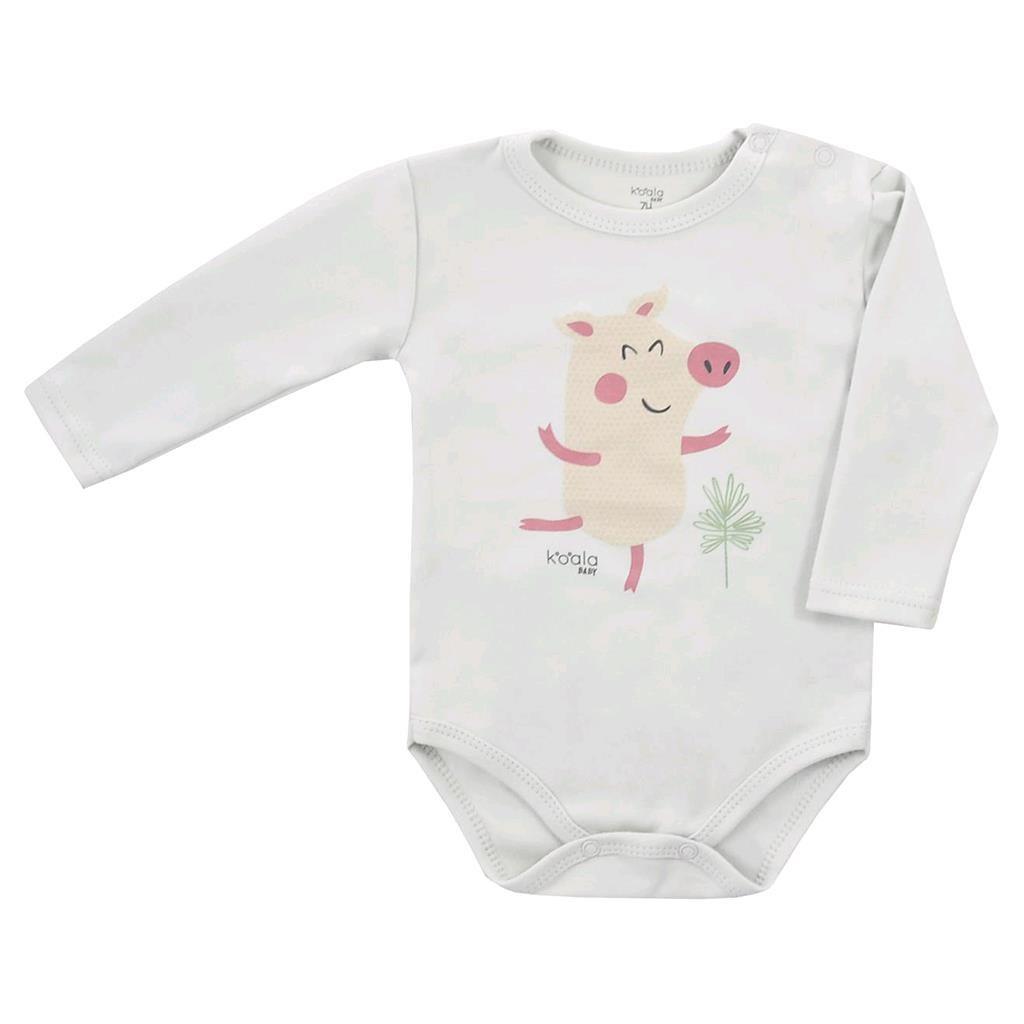Dojčenské body s dlhým rukávom Koala Farm béžové-86 (12-18m)
