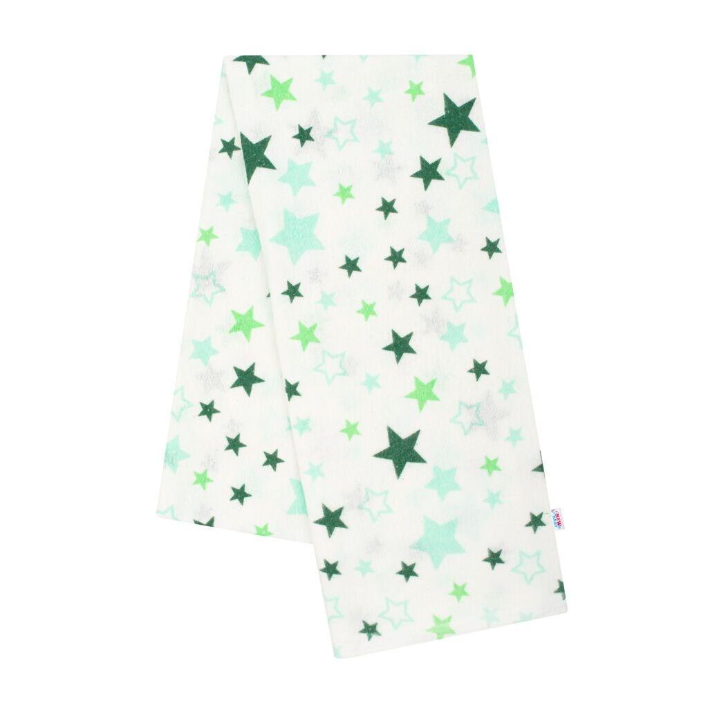 Flanelová plienka s potlačou New Baby biela hviezdy zelené