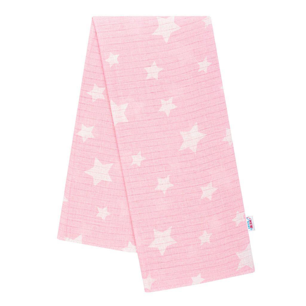Bavlnená plienka s potlačou New Baby rúžová hviezdičky