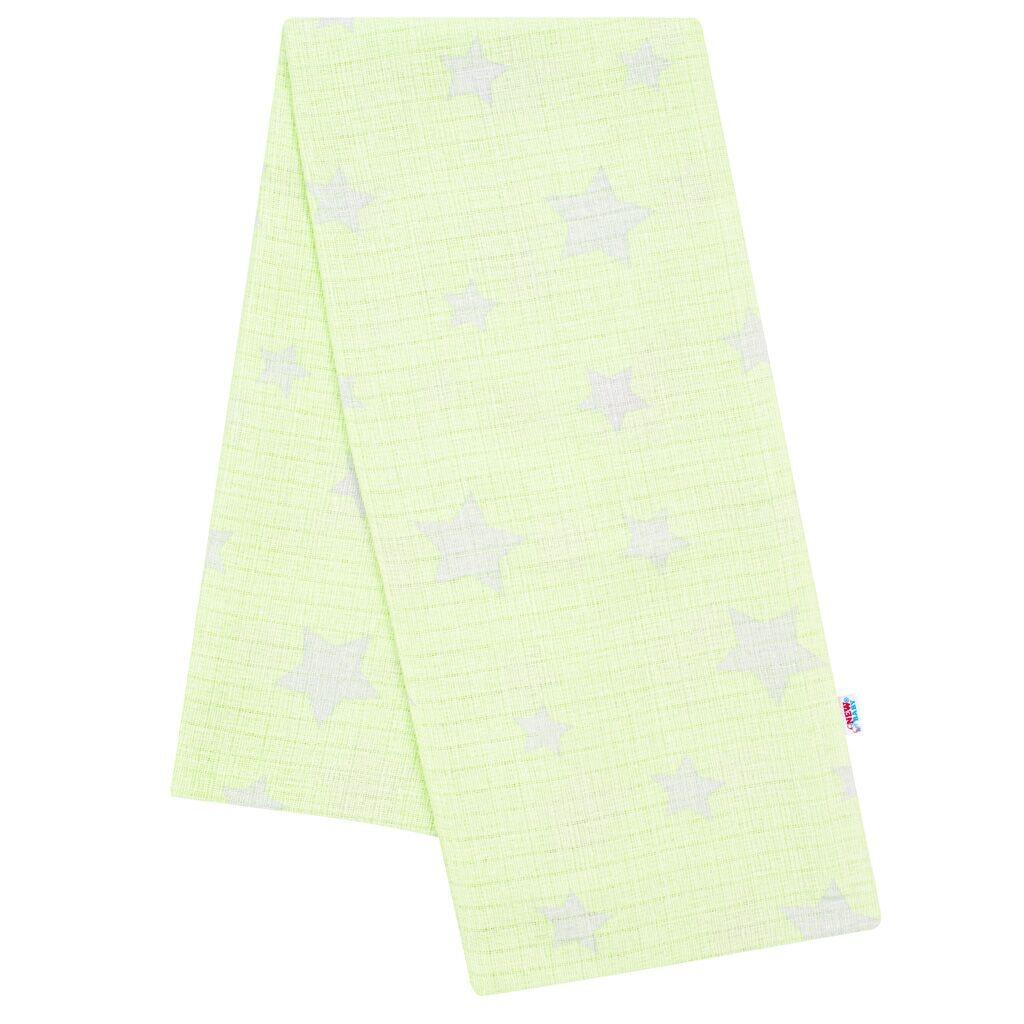 Bavlnená plienka s potlačou New Baby zelená hviezdičky sivé