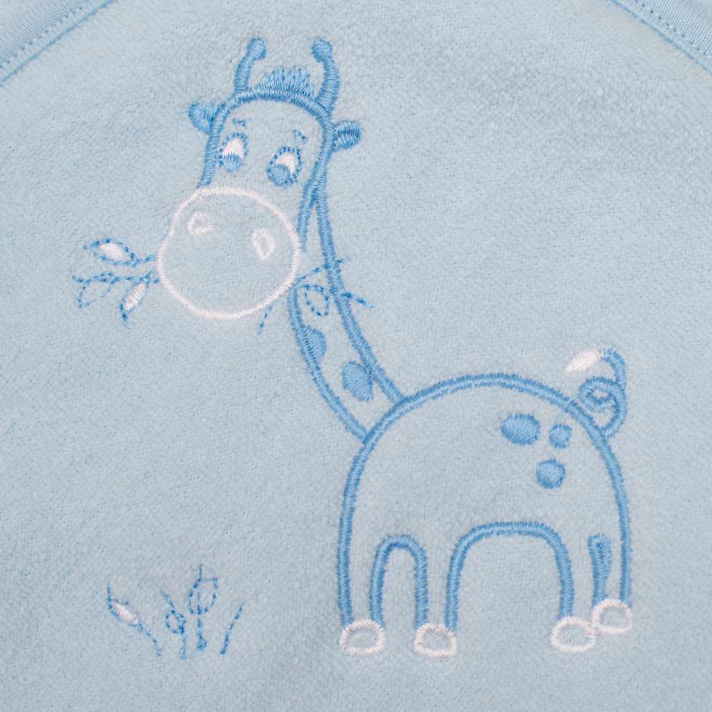 Detská froté osuška s výšivkou a kapuckou New Baby 80x80 modrá žirafka