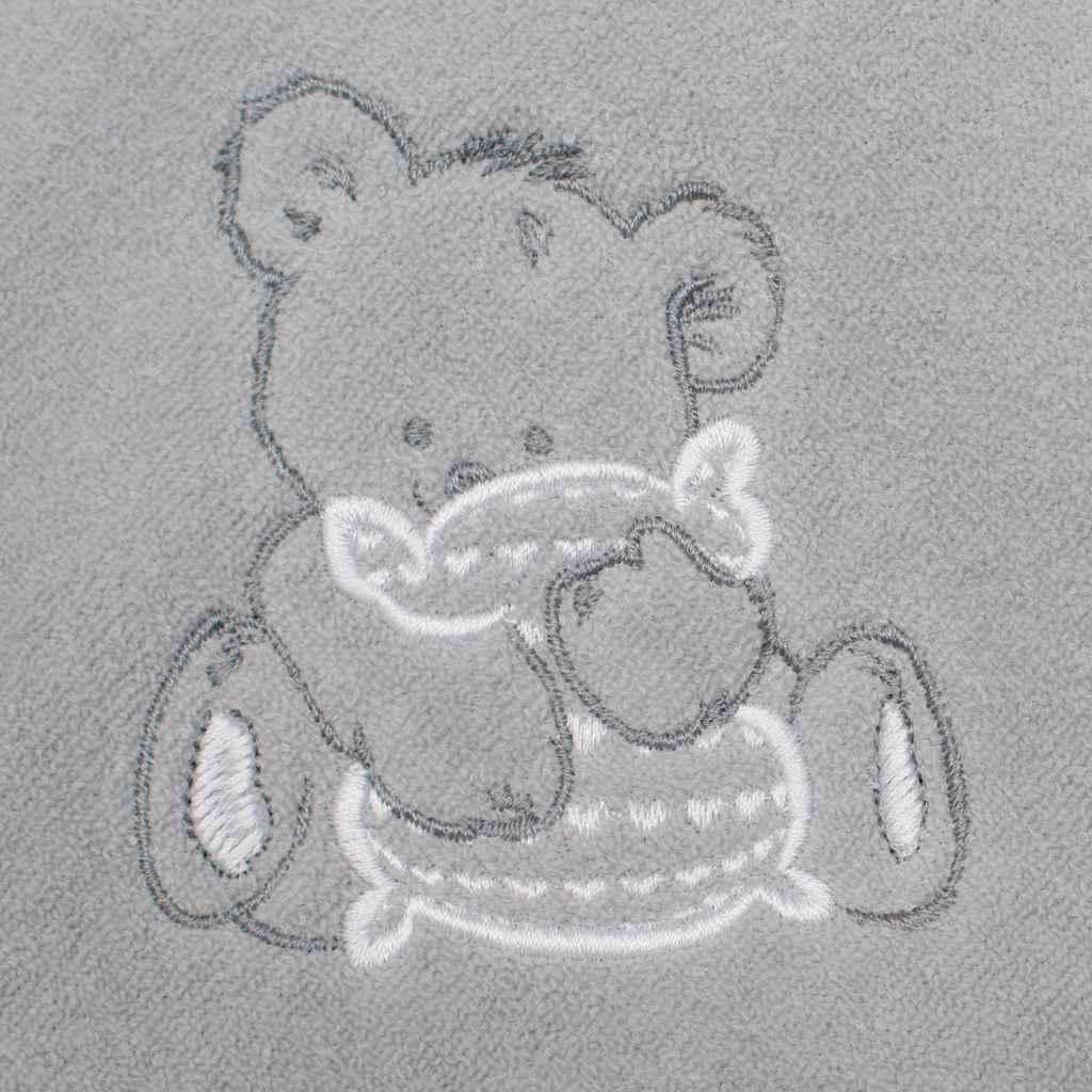 Detská froté osuška s výšivkou a kapuckou New Baby 80x80 sivá myška