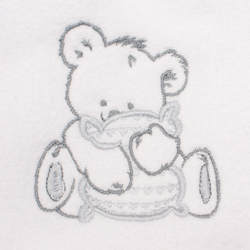 Detská froté osuška s výšivkou a kapuckou New Baby 80x80 biela medveď