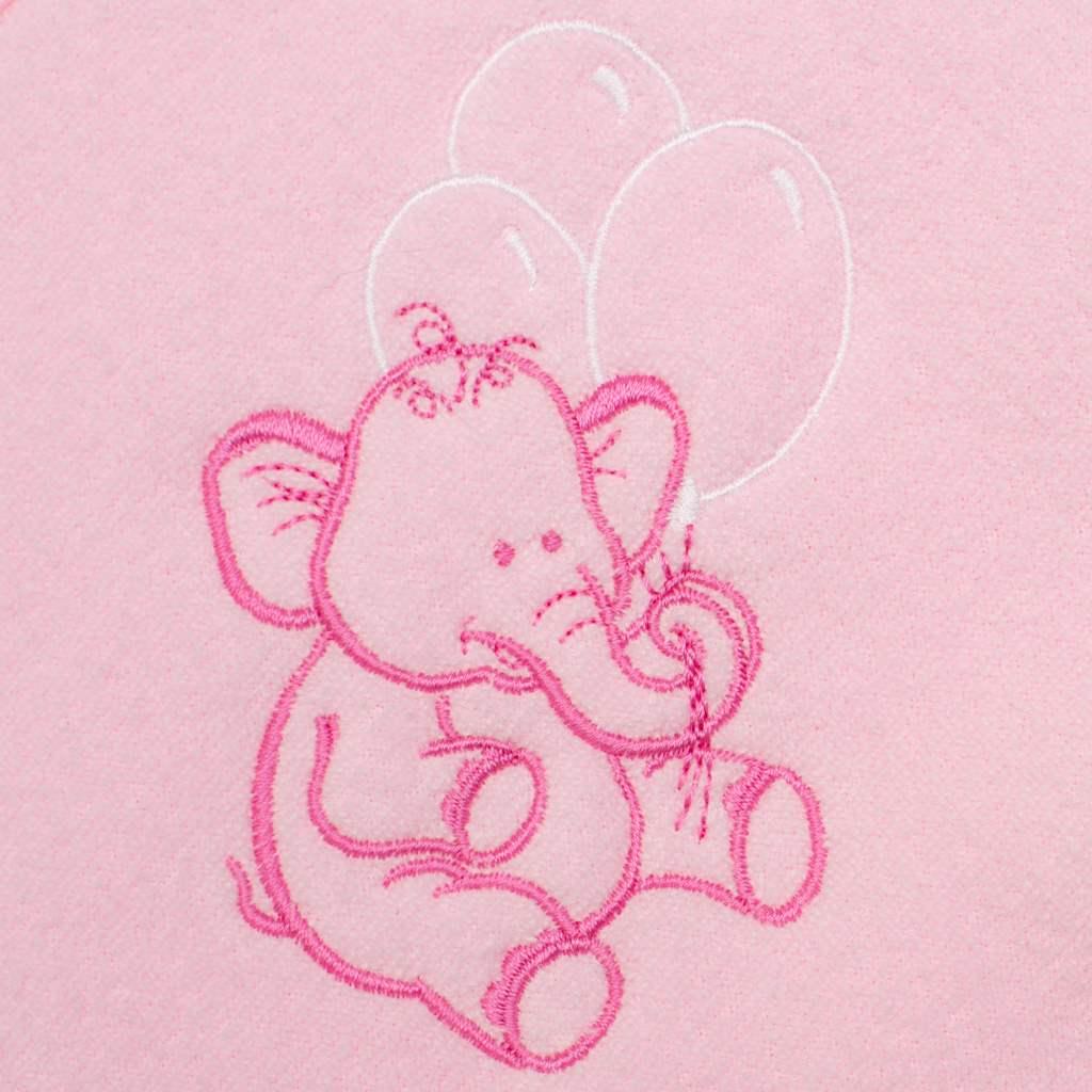 Detská froté osuška s výšivkou a kapuckou New Baby 100x100 ružová sloník