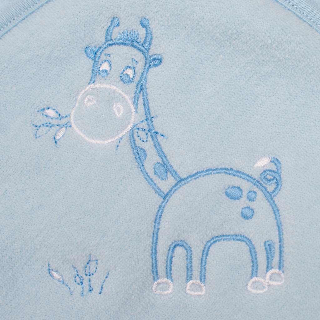 Detská froté osuška s výšivkou a kapuckou New Baby 100x100 modrá žirafka