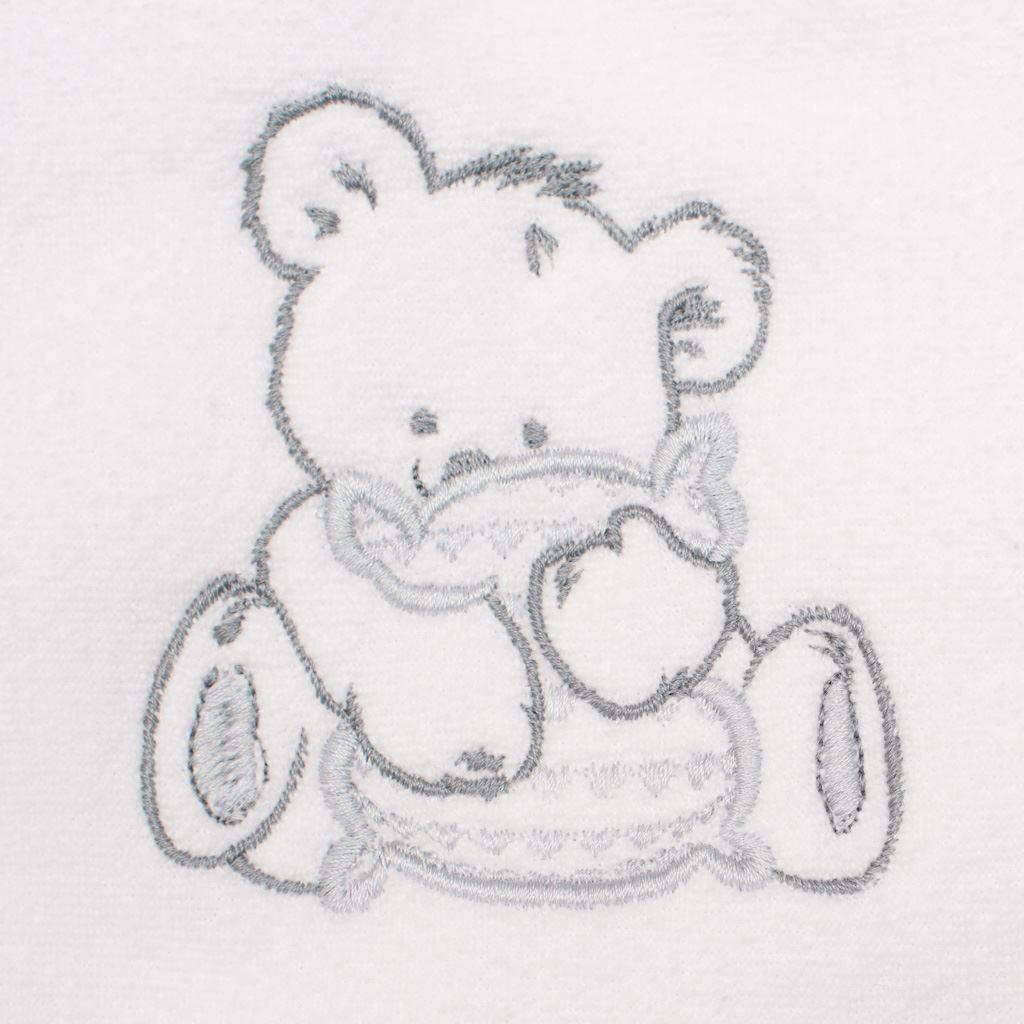 Detská froté osuška s výšivkou a kapuckou New Baby 100x100 biela medveď