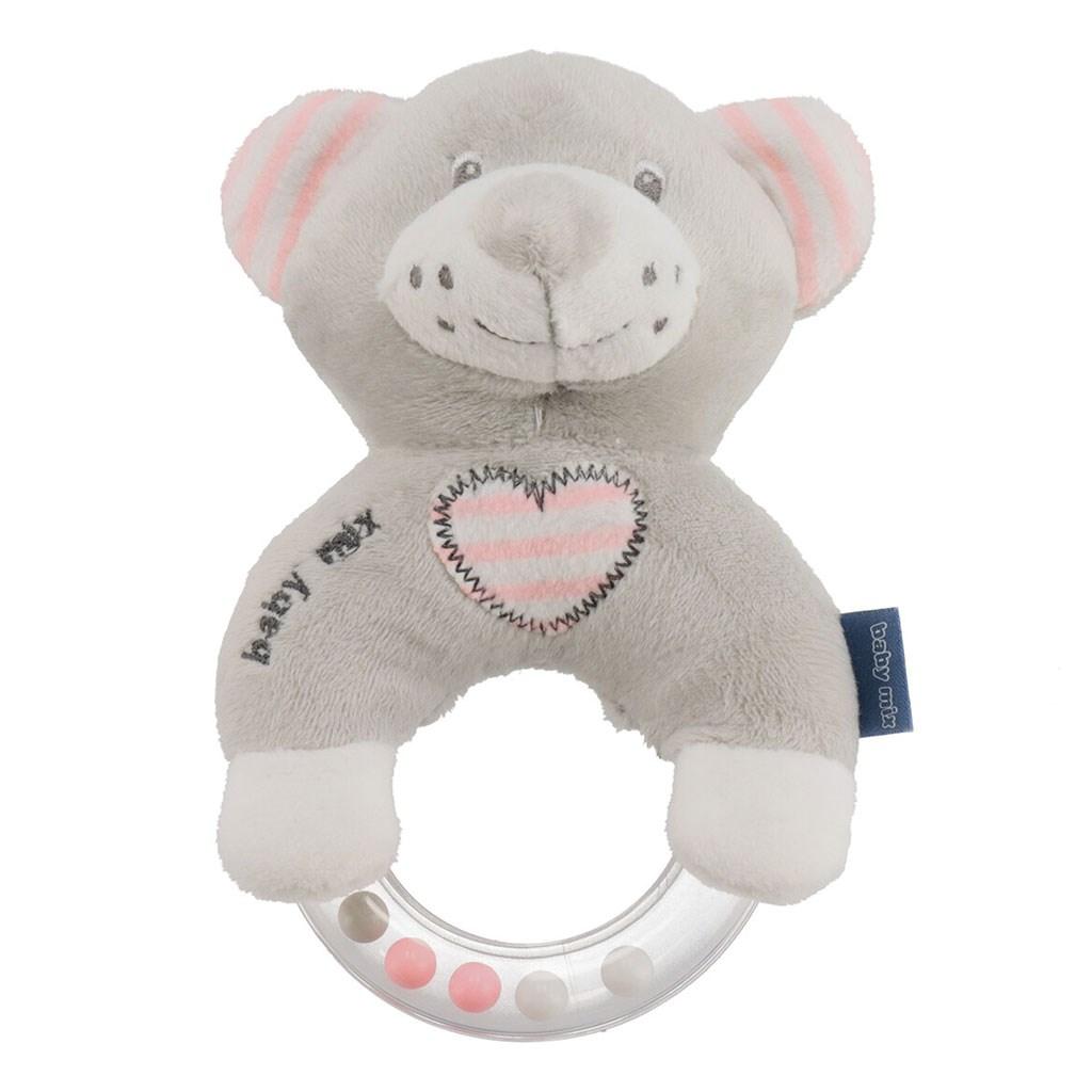 Detská plyšová hrkálka Baby Mix medvěd modrý