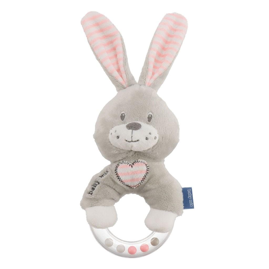Detská plyšová hrkálka Baby Mix králik ružový