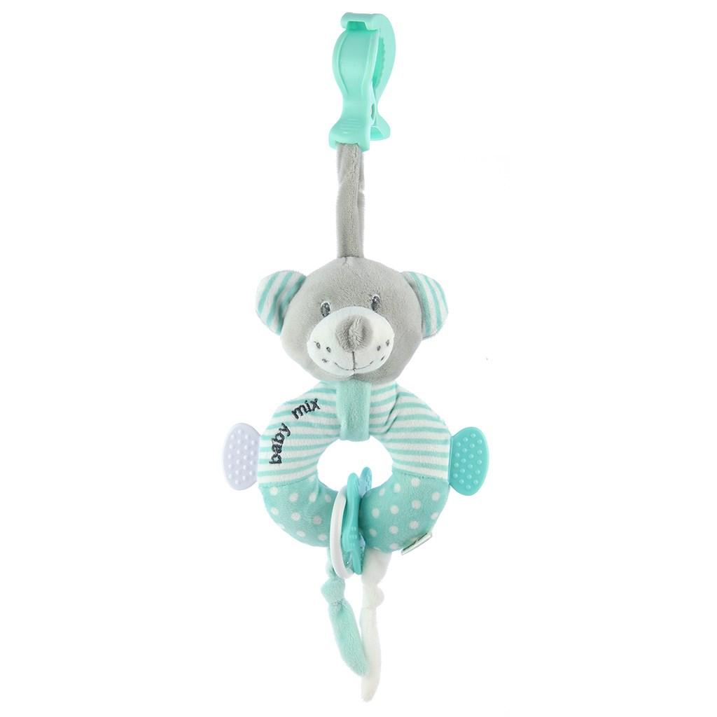 Edukačná plyšová hračka s klipom Baby Mix medveď modrý