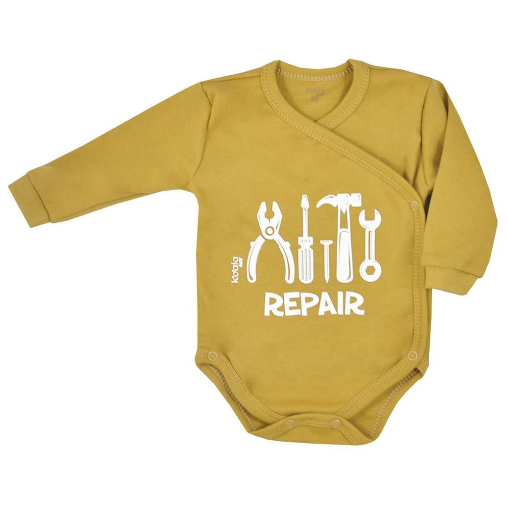 Dojčenské body celorozopínacie Koala Repair oldgold-56 (0-3m)