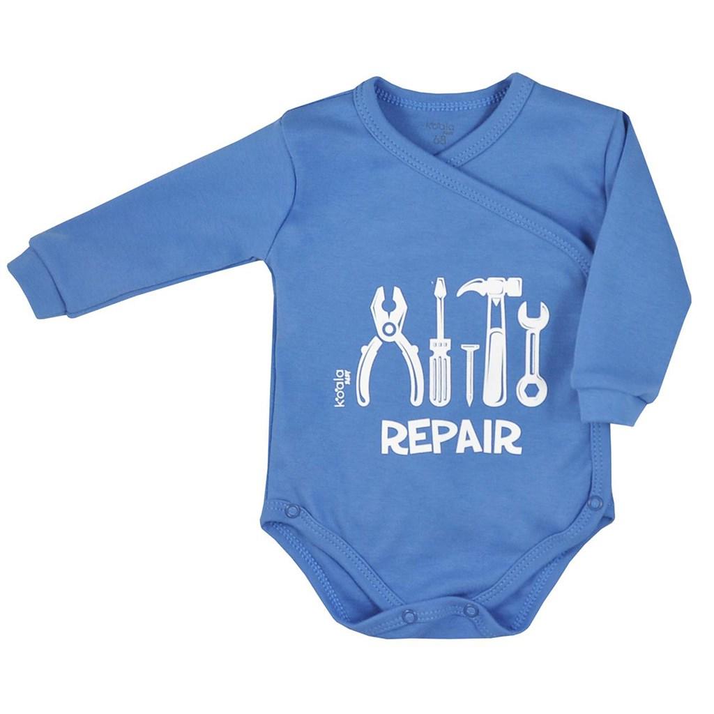 Dojčenské body celorozopínacie Koala Repair blue-56 (0-3m)