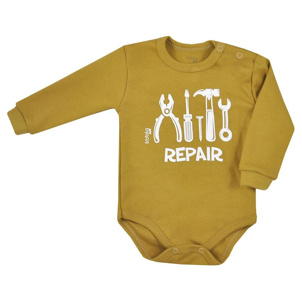 Dojčenské body s dlhým rukávom Koala Repair oldgold