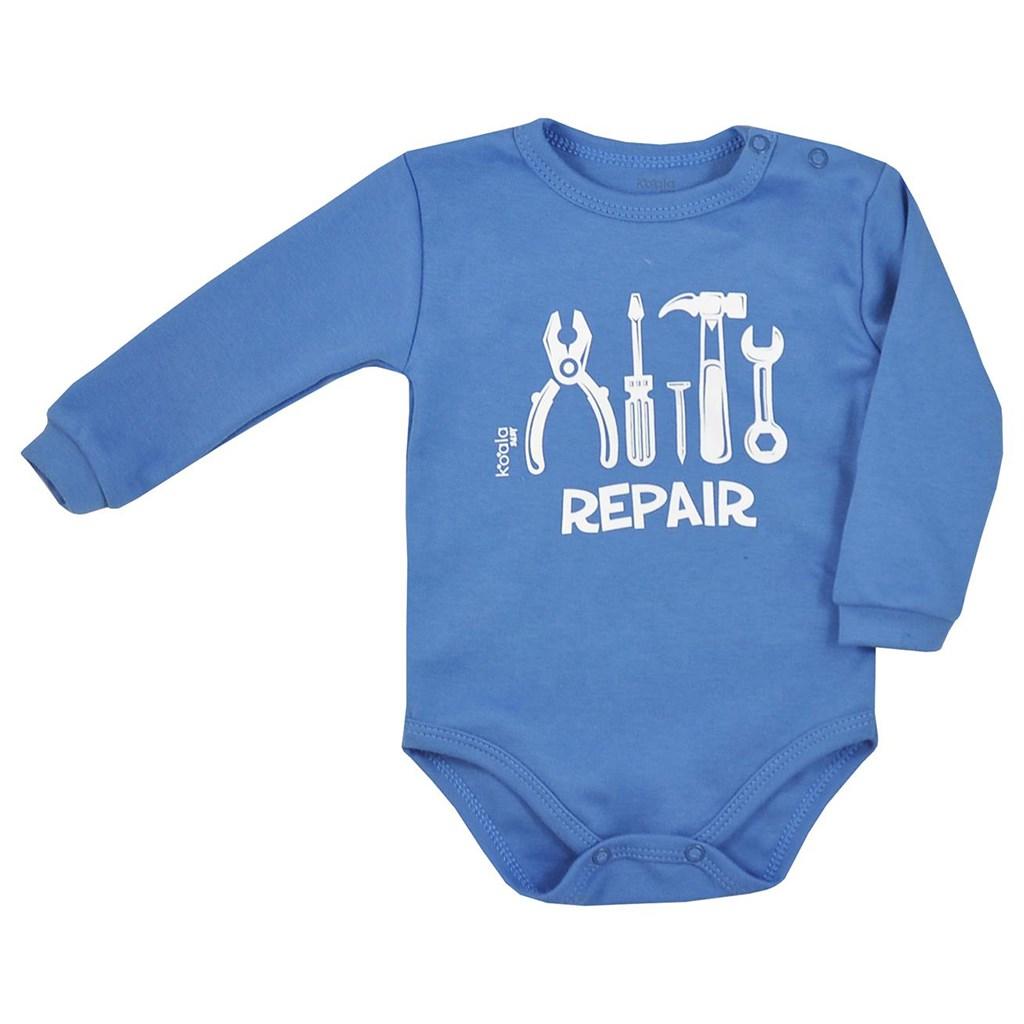 Dojčenské body s dlhým rukávom Koala Repair blue