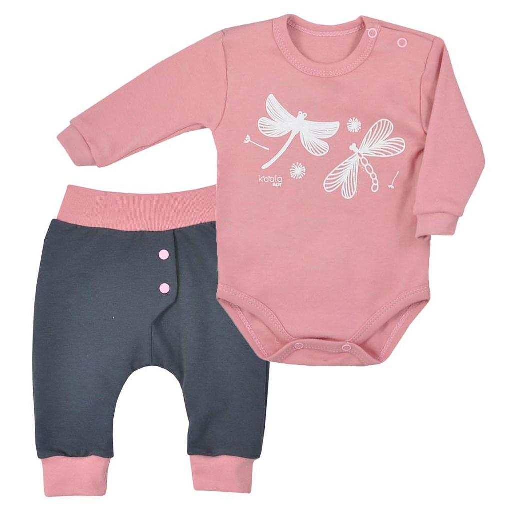 2-dielna bavlnená dojčenská súprava Koala Vážka ružová