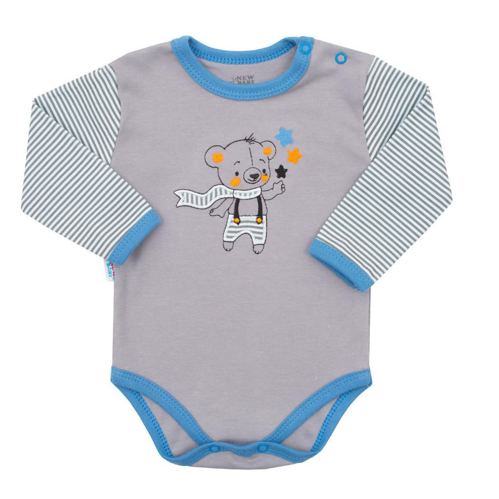 Dojčenské bavlnené body s dlhým rukávom New Baby Lucky Bear-56 (0-3m)