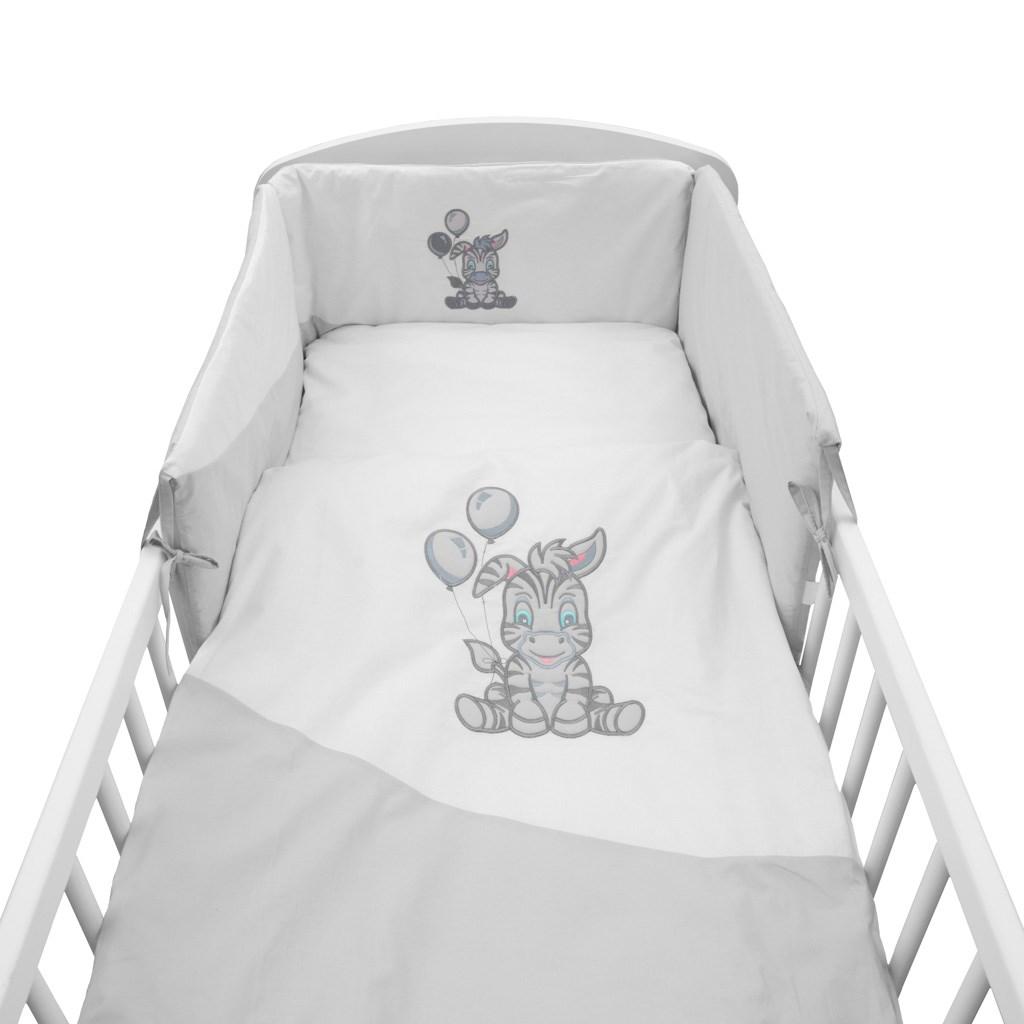 3-dielne posteľné obliečky New Baby Zebra exclusive 100/135 bielo-sivé