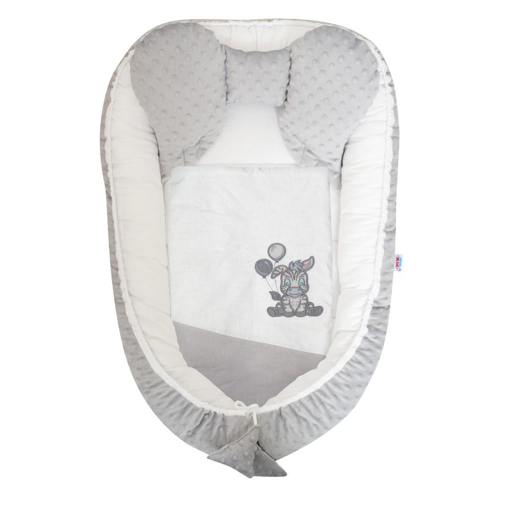 Hniezdočko s perinkou pre bábätko Minky New Baby Zebra exclusive bielo-sivé