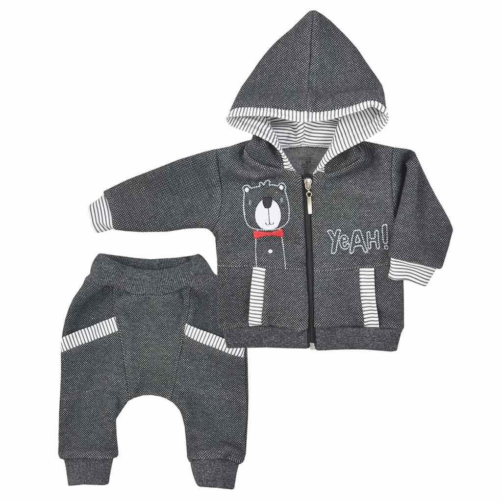 Dojčenské tepláčky a mikinka s kapucňou Koala Yeah grey-68 (4-6m)