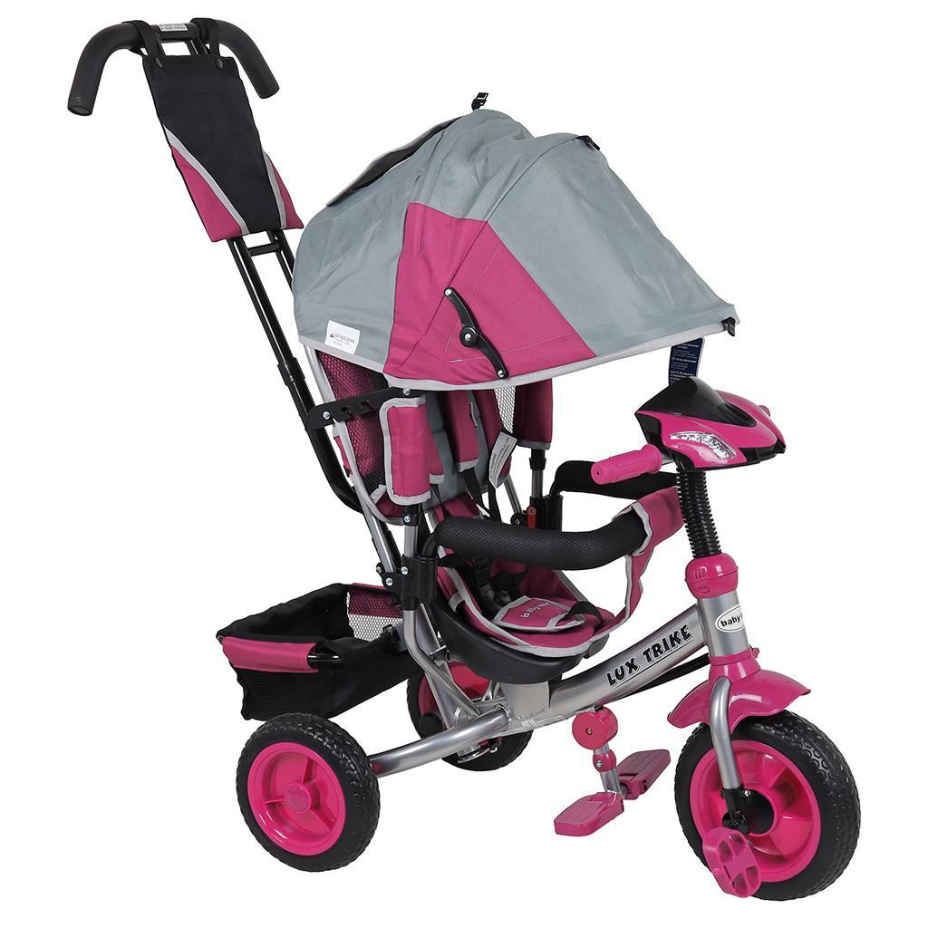 Detská trojkolka so svetlami Baby Mix Lux Trike sivo-ružová