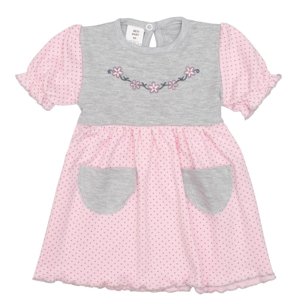 Dojčenské šatôčky s krátkym rukávom New Baby Summer dress ružovo-sivé-74 (6-9m)
