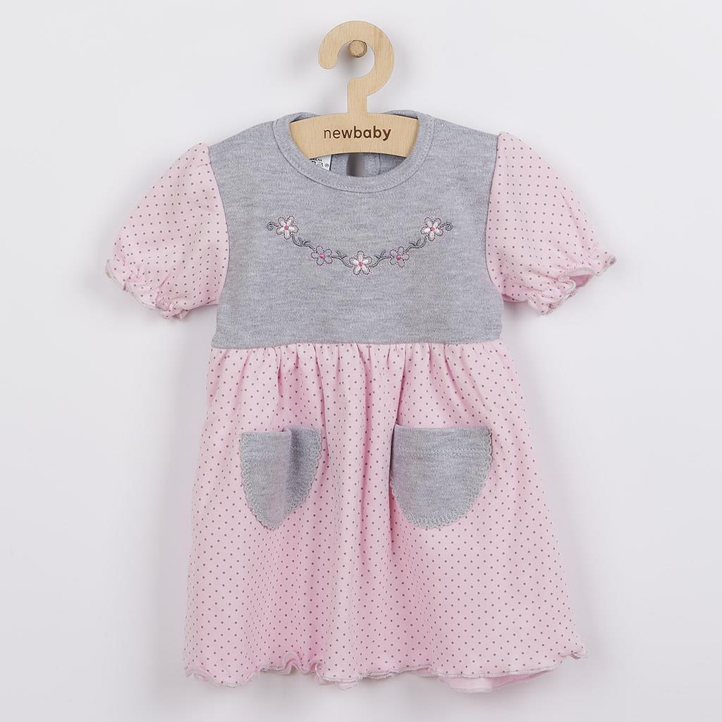 Dojčenské šatôčky s krátkym rukávom New Baby Summer dress ružovo-sivé