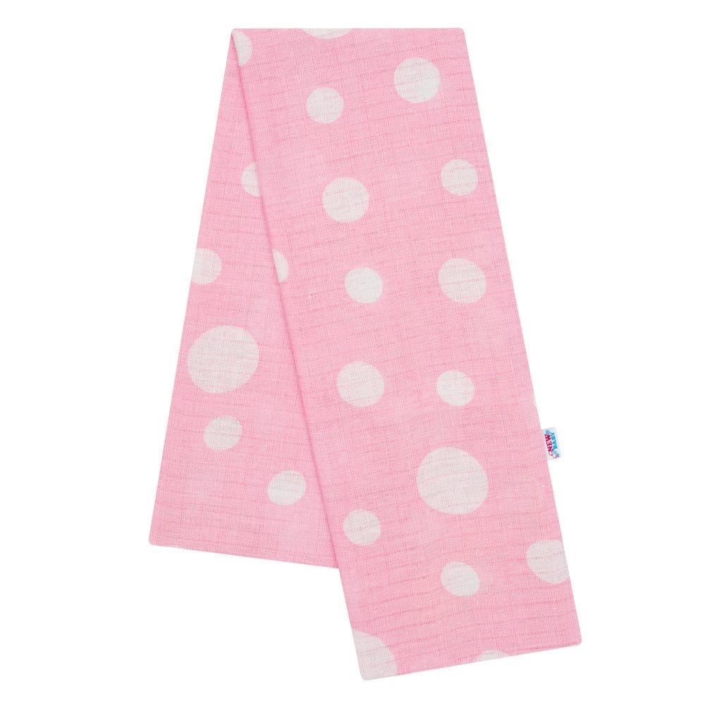 Bavlnená plienka s potlačou New Baby rúžová s bodkami