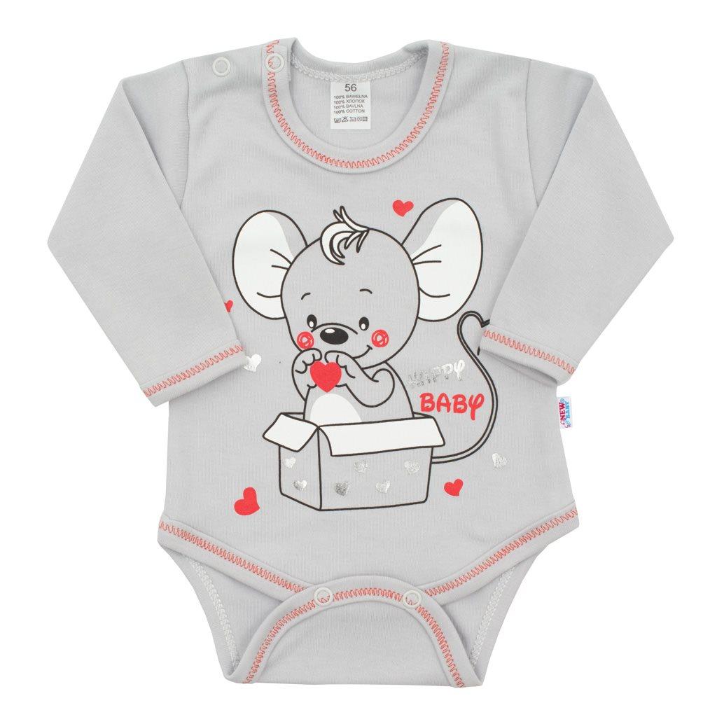 Dojčenské body s dlhým rukávom New Baby Mouse sivé-56 (0-3m)
