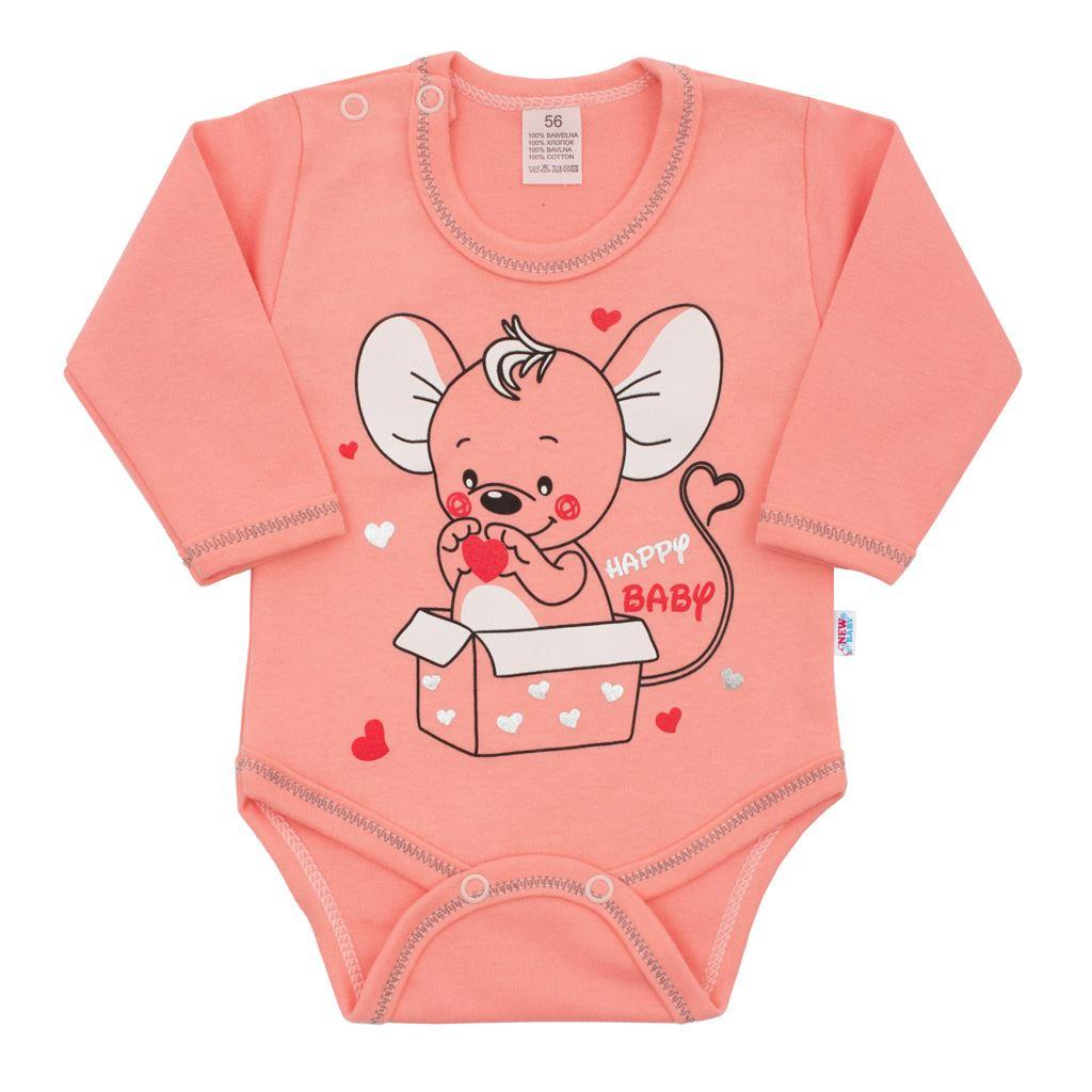 Dojčenské body s dlhým rukávom New Baby Mouse lososové-56 (0-3m)