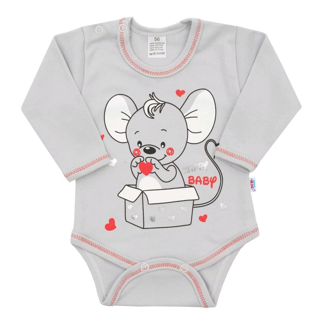 Dojčenské body s dlhým rukávom New Baby Mouse sivé-62 (3-6m)