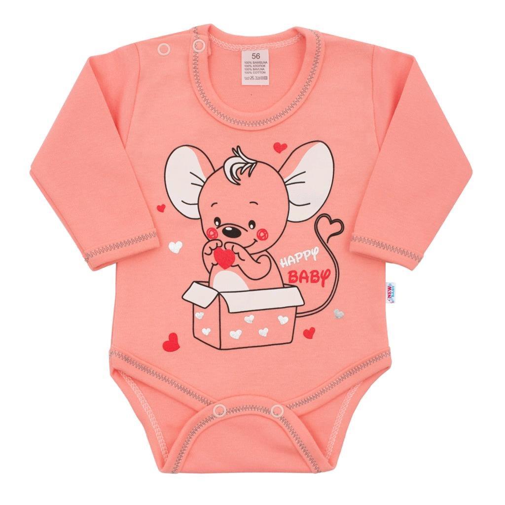 Dojčenské body s dlhým rukávom New Baby Mouse lososové-62 (3-6m)