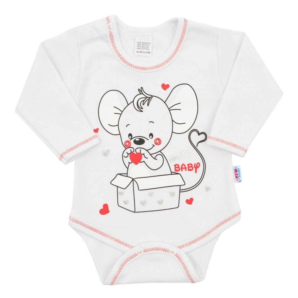 Dojčenské body s dlhým rukávom New Baby Mouse biele-68 (4-6m)