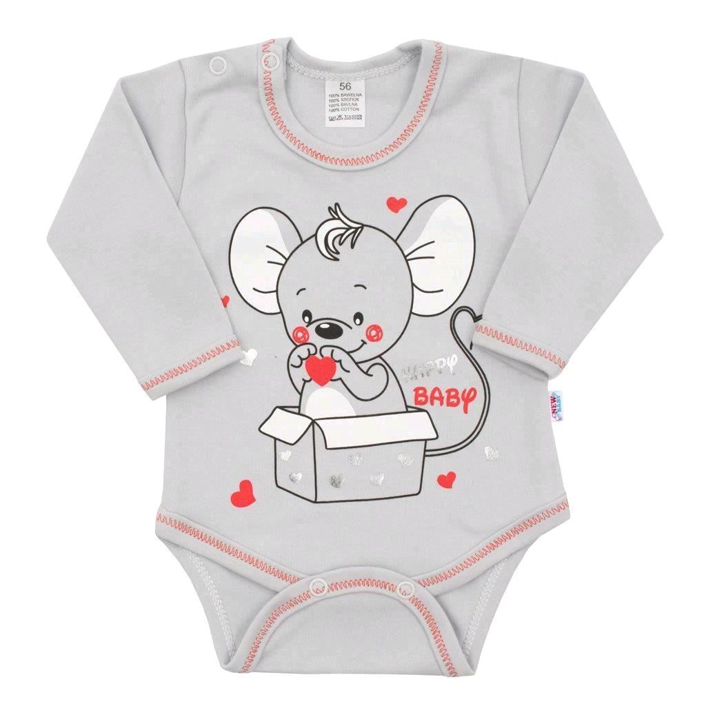 Dojčenské body s dlhým rukávom New Baby Mouse sivé-68 (4-6m)